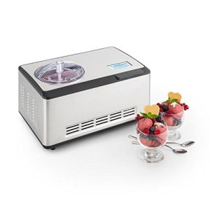Klarstein Dolce Bacio Ice Cream Maker • Ice Cream Machine • Compression Cooling • Family Size • up to 67fl oz finished Gelato, Sorbet, Frozen Yogurt, Soft Ice • Timer • 180W • Stainless Steel • Silver