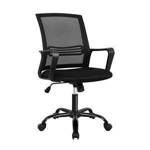 Oak Leaf Mid-Back Big Ergonomic Office Lumbar Support Mesh, Computer Desk Task Chair with Armrests (Black)