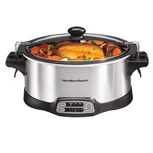 Hamilton Beach Programmable Slow Cooker, Stay or Go Stovetop Sear & Cook, 6 Quart, Lid Lock, Silver (33663)