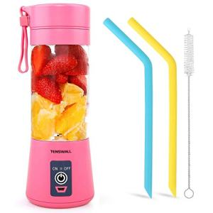 Tenswall Portable, Personal Size Blender Shakes and Smoothies Mini Jucier Cup USB Rechargeabl, pink