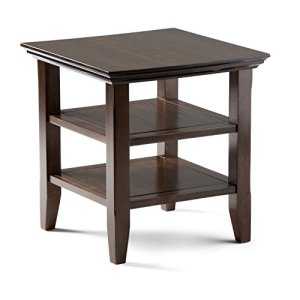 Simpli Home Acadian Solid Wood 19 inch Wide Square Rustic End Table in Tobacco Brown