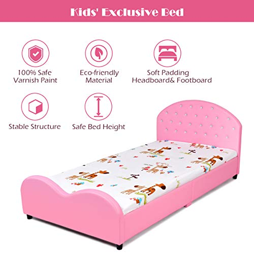 Costzon Toddler Bed, Twin Size Upholstered Platform Bed W/Embedded Package deal Dimensions: 80.zero x 41.5 x 32.zero inches