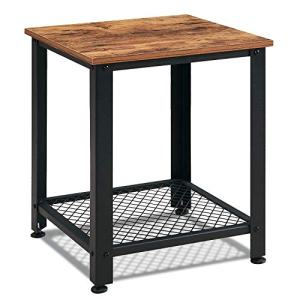 VINEXT Rustic End Table with Mesh Shelves for Living Room, Bedroom, Nightstand, Side Table with 2-TierStorage Shelf, Sturdy and Easy Assembly, Vintage Brown