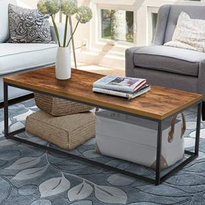 """Coffee Table for Living Room, KingSo 46"""" Industrial Coffee Table 1.25"""" Thick Wood Grain Top Furniture with Heavy Metal Frame, 350 lbs Load Capacity, Easy Assembly"""