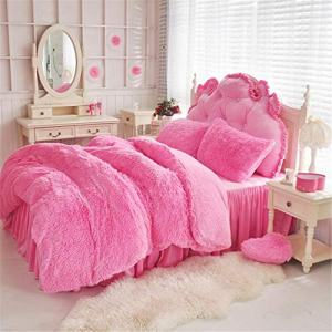 4 PCS Faux Fur Bedding Set, 1 Soft Plush Shaggy Duvet Cover + 1 Flannel Bed Sheet Skirt + 2 Fluffy Furry Sherpa Pillowcases, Luxury Cozy Decorative Home Bedroom, Zipper & Ties, Easy Care (Pink, Queen)