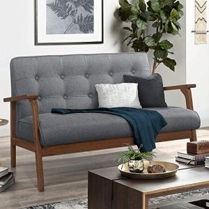 """Mid-Century Wooden Loveseat Sofa Modern Fabric, Retro Armrest Loveseat Couch Upholstered 2-Seat, Lounge Accent Chair for Living Room/Outdoor, 42""""W (Gray)"""