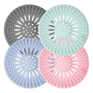 Silicone Hair Catcher Shower Drain Covers, Universal Rubber Sink Strainer Drain Protector for Bathtub Kitchen Bathroom, Hair Stopper Filter 4 Pack