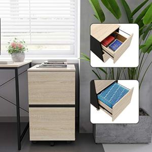 Bestier 2 Drawer File Cabinet with 20 Free A4 File Holders Office Drawer with Wheels Under Desk Wood Storage Cabinet Drawer Desk Drawer Filing Cabinet P2 Wood (Oak)