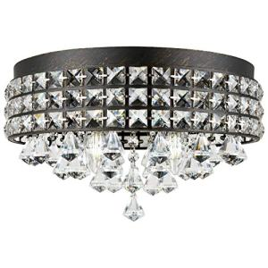 "Kira Home Gemma 15"" Modern Chic 4-Light Flush Mount Crystal Chandelier + Round Metal Shade, Dimmable, Brushed Black Finish"