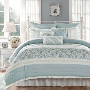 Madison Park Dawn Queen Size Bed Comforter Set Bed In A Bag - Aqua , Floral Shabby Chic – 9 Pieces Bedding Sets – 100% Cotton Percale Bedroom Comforters