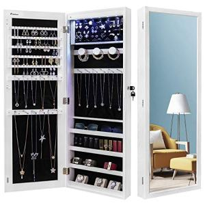 Giantex 15 LED Jewelry Armoire Cabinet with Full Length Mirror