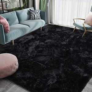 Homore Luxury Fluffy Area Rug Modern Shag Rugs for Bedroom Living Room, Super Soft and Comfy Carpet, Cute Carpets for Kids Nursery Girls Home, 4x6 Feet Black