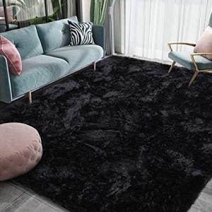 Homore Luxury Fluffy Area Rug Modern Shag Rugs for Bedroom Living Room, Super Soft and Comfy Carpet, Cute Carpets for Kids Nursery Girls Home, 4x6 Feet Black