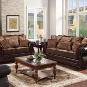Furniture of America Esmeralda 2-Piece Fabric and Leatherette Sofa Set, Dark Brown Finish