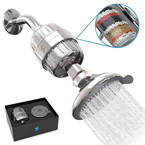 SparkPod Shower Filter Head - Filtered Shower Head with Proprietary Shower Filters to Remove Chlorine and Flouride - 12 Stage Showerhead Filter for Healthy Skin, Hair, and Nails