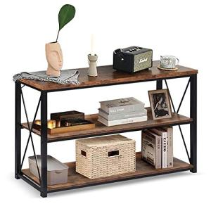 """charaHOME 47"""" Sofa Table with Storage,3-Tier Industrial Console Entryway/Hallway Table Console TV Cabinet for Living Room, Open Bookshelf,Brown"""
