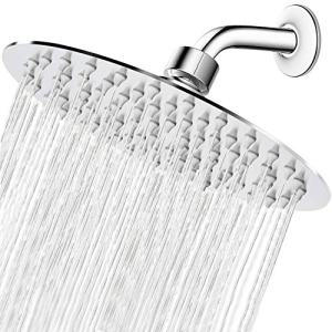 High Pressure Shower Head, 8 Inch Rain Showerhead, Ultra-Thin Design- Pressure Boosting, Awesome Shower Experience, NearMoon High Flow Stainless Steel Rainfall Shower Head (Chrome Finish)
