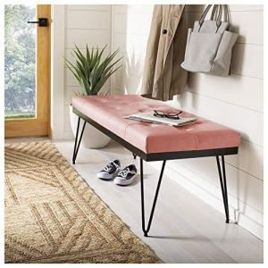 GIA Velvet Tufted Bench, Brushed Pink Seat/Black Metal Frame for Bedroom and Hallway