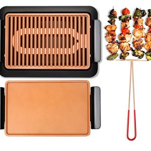 GOTHAM STEEL Smokeless Electric Grill, Griddle, and Pitchfork, Indoor BBQ and Nonstick As Seen On TV (Large)