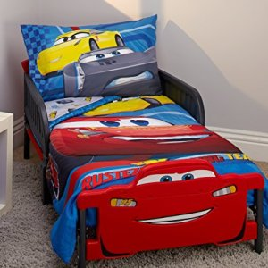 Disney Cars Rusteze Racing Team 4 Piece Toddler Bedding Set, Blue/Red/Yellow/White