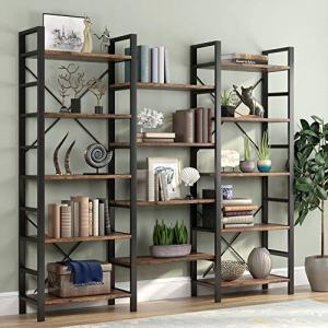 Tribesigns Rustic Triple Wide 5-Shelf Bookcase, 5 Tier Etagere Large Open Bookshelf Vintage Industrial Style Shelves Wood and Metal bookcases Furniture for Home & Office, Retro Brown