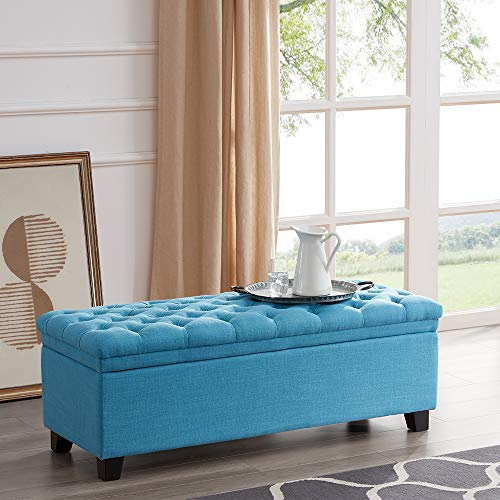 "BELLEZE Modern 48"" Rectangular Lift Top Laguna Button Tufted Fabric Storage Ottoman Bench, Blue"