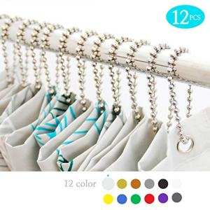 BallchainAge Shower Curtain Hooks, Shower Curtain Rings 12pcs, spa-Quality Look-Nickel
