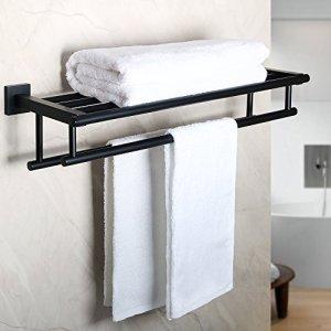 Alise GZ8000-B Bathroom Lavatory Towel Rack Towel Shelf with Two Towel Bars Wall Mount Holder,24-Inch SUS 304 Stainless Steel Matte Black