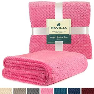 PAVILIA Luxury Soft Plush Pink Throw Blanket for Sofa, Couch | Silky Velvet Fleece Chevron Pattern Throw | Cozy Lightweight Microfiber, Reversible Blanket | All Season Use | 50 x 60 Inches