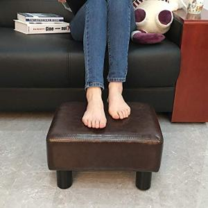 """scriptract 6"""" Small Footstool PU Leather Ottoman Footrest Modern Home Living Room Bedroom Rectangular Stool with Padded Seat ,Brown"""