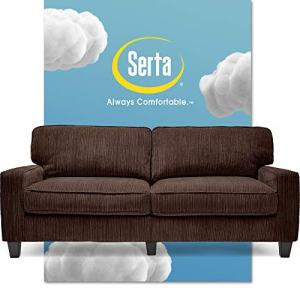 "Serta Palisades Upholstered Sofas for Living Room Modern Design Couch, Straight Arms, Soft Fabric Upholstery, Tool-Free Assembly, 78"", Brown"