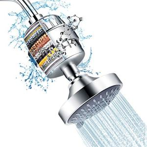 Shower Head and 15 Stage Shower Filter Combo, FEELSO High Pressure 5 Spray Settings Filtered Showerhead with Water Softener Filter Cartridge for Hard Water Remove Chlorine and Harmful Substances