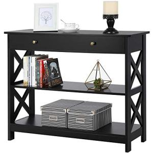 Yaheetech Console Sofa Table Classic X Design with Drawer and 3 Tier Storage Shelves - Entryway Hall Table Bookshelf Display Rack for Living Room Office Furniture