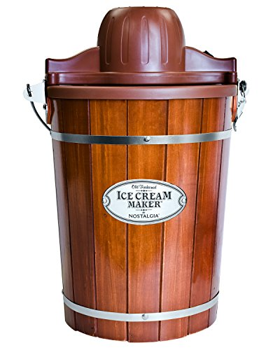 Nostalgia Electric Bucket Ice Cream Maker With Easy-Carry Handle, Makes 6-Quarts in Minutes, Frozen Yogurt, Gelato, Made From Real Wood, Brown