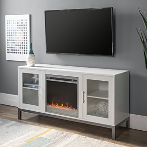 "Walker Edison Furniture Company Modern Glass and Wood Fireplace Universal Stand with Open TV's up to 58"" Flat Screen Living Room Storage Entertainment Center, White"