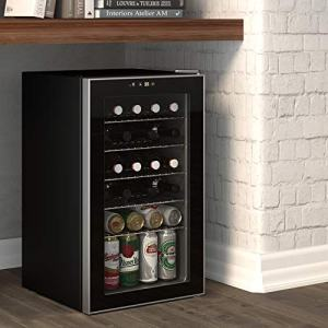 Cloud Mountain 85 Can or 24 Bottles Beverage Refrigerator or Wine Cooler with Glass Door for Beer, soda or Wine - Mini Fridge Used in the Room, Office or Bar - Drink Freezer for Party