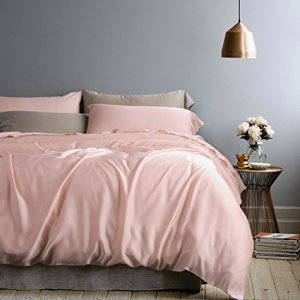Solid Color Egyptian Cotton Duvet Cover Luxury Bedding Set High Thread Count Long Staple Sateen Weave Silky Soft Breathable Pima Quality Bed Linen (King, Rose Gold)