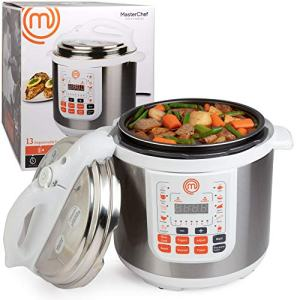 MasterChef 13-in-1 Pressure Cooker- 6 QT Electric Digital MultiPot w 13 Programmable Functions- High and Low Pressure Cooking Options, LED Display, Delay Timer and Non-stick Pot, Great Father's Day Gift