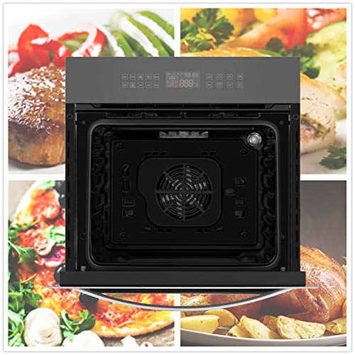 """Empava 24"""" Electric Convection Single Wall Oven 10 Cooking Functions Deluxe Guarantee: 2 Yr Components Guarantee"""