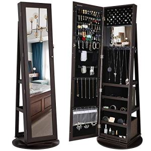 SONGMICS 360° Rotatable Jewelry Organizer Cabinet Armoire, Lockable, Higher Mirror, Brown UJJC62BR