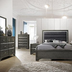 Kings Brand Furniture – 6-Piece Gray Wood with Faux Leather Headboard King Bedroom Set. Bed, Dresser, Mirror, Chest, 2 Night Stands