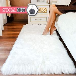 Premium Faux Sheepskin Fur Rug White - 2.3x5 feet - Best Extra Long Shag Pile Carpet for Bedroom Floor Sofa - Soft Fur Area Rug