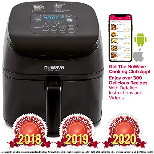 NUWAVE BRIO 4.5-Quart Digital Air Fryer includes Nuwave Cooking Club App, one-touch digital controls, 6 easy presets, precise temperature control, recipe book, wattage control, and advanced functions like PREHEAT, REHEAT more