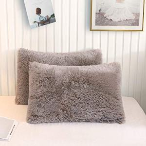 XeGe Faux Fur Throw Pillow Cases Plush Shaggy Ultra Soft Pillow Cover Fluffy Crystal Velvet Decorative Pillowcases Zipper Closure,Set of 2(Standard, Khaki)