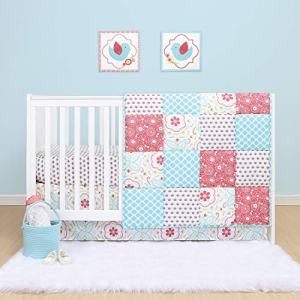 The Peanutshell Mila Floral Crib Bedding Set for Baby Girls | 3 Piece Nursery Set | Baby Quilt, Crib Sheet, and Dust Ruffle