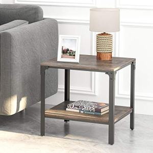 IRONCK End Tables Living Room, Side Table with Storage Shelf, Wood Look Accent Furniture with Metal Frame, Rustic Home Decor, Dark Brown