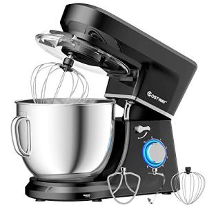 COSTWAY Stand Mixer, 6-Speed 7.5 QT Tilt-head Electric Kitchen Food Mixer 660W with Stainless Steel Bowl, Dough Hook, Beater, Whisk