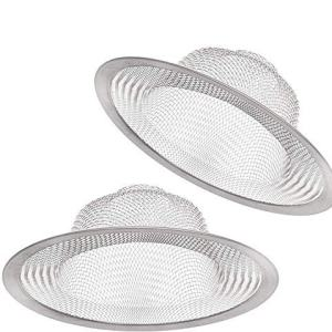 "2 PCS Stainless Steel Sink Strainer 4.5"" Diameter, Mesh Metal Drain Strainer, Fine Mesh Kitchen Sink Strainer, Hair Basket Drain - Fits Most Kitchen Sink, Bathroom Bathtub, Shower Drains"