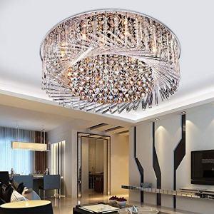 "LITFAD Swirl Crystal Glass Flush Mount Ceiling Light Fixture Modern Luxury Sparkling Close to Ceiling Light LED Chandelier for Bedroom Living Room Hotel Bar - 23.5"" (60 cm)"