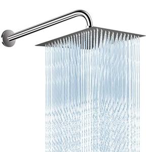 12 Inches High Pressure Shower Head with 15 Inches Extension Arm, Square Rain Showerhead - Easy Tool Free Installation, Large Luxury Stainless Steel Rainfall Shower Head for Bathroom - Chrome